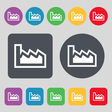 Chart icon sign A set of 12 colored buttons Flat vector image vector image
