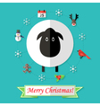 Christmas Card with Sheep over Blue vector image vector image