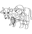 Coloring book child feeding cow vector image
