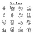 corn icon set in thin line style vector image vector image