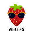 cute funny strawberry isolated on white background vector image vector image