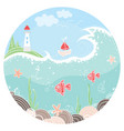 cute in circle with lighthouse vector image vector image