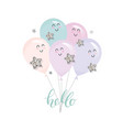 cute kawaii balloons for birthday baby shower or vector image vector image