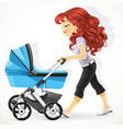 cute mother with a blue pram on walk isolated on vector image