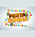 festa junina with party flags paper vector image