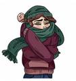 girl in warm cozy scarf hand-drawn color vector image