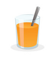 glass fresh orange juice with sugar and spoon vector image vector image