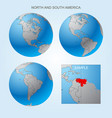 globe set with borders of countries vector image