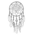 hand drawn ornate dreamcatcher with peony bud vector image