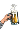 hands with beer mugs colorful drawn poster vector image