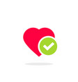 heart tick icon flat cartoon vector image