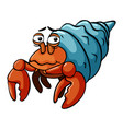 hermit crab with sad smile vector image vector image