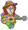 hippie guitar player vector image