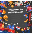 Holland travel icons postcard with famous Dutch vector image vector image