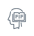 human head profile and open book education vector image