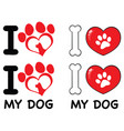 i love paw print logo design 03 collection vector image vector image