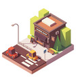 isometric barber shop vector image vector image
