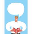 man read book and speech bubble vector image vector image