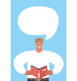 man read the book and speech bubble vector image