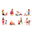 mother playing with kids boys play child sitting vector image vector image