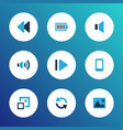 multimedia icons colored set with volume up sync vector image