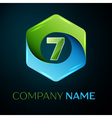 Number seven logo symbol in the colorful hexagonal vector image vector image