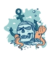 pirate skull lying on seabed vector image