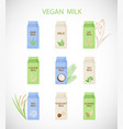 plant based milk flat icon set vector image vector image
