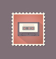 retro style cassette flat stamp with shadow vector image