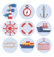 Sea port flat icons set vector image vector image