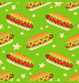seamless pattern with big hot dog vector image