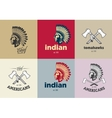 set american indian emblems labels and badges vector image