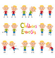 set of blonde boys in exercises poses vector image vector image