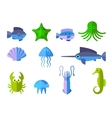 set of flat icons with aquatic animals vector image vector image