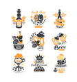 set of original black and orange beer logo vector image vector image