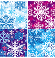 set of seamless snowflakes pattern vector image