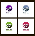 set of w letter color logo with dot and shadow vector image vector image