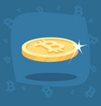 shiny gold bitcoin coin with lens flare vector image