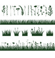 silhouettes meadow grass vector image vector image