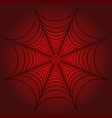 Spider web cobweb on red dotted background vector image
