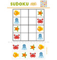 sudoku for children education game cartoon sea vector image vector image