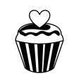 sweet cupcake with heart vector image