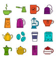 tea and coffee icons doodle set vector image