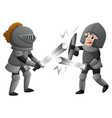 two knights in armours fighting vector image vector image