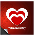 valentines day greetings card with red pattern vector image vector image
