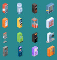 vending machines isometric icons vector image vector image