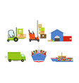 warehouse transportation and delivery set vector image vector image