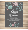 wedding invitation with flowers dark green colour vector image