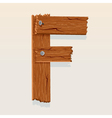 wooden letter f vector image vector image