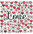 word love surrounded icons and hearts vector image vector image